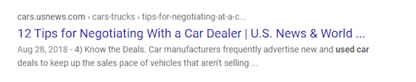 Google result about tips for negotiating with car dealers.