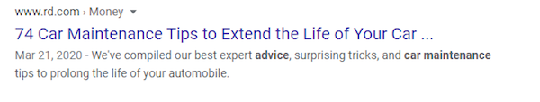 Google result of a blog about car maintenance tips.