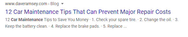 Car maintenance tips blog in search results.