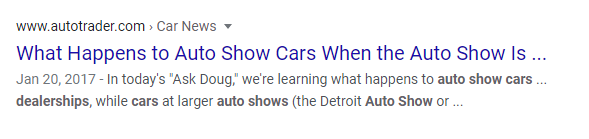 Blog for car dealerships in Google search results.